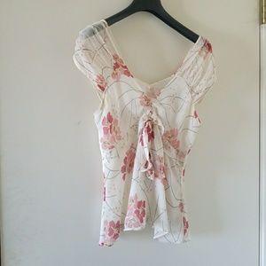 Cream floral silk top by BCBG Maxazria